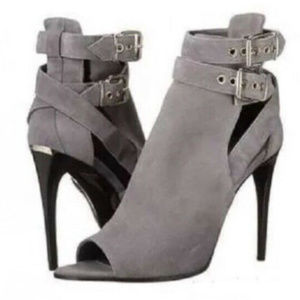 Burberry Overfield Ankle Boots Grey Suede Peep Toe